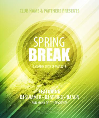spring break: Spring Break Party. Template poster. Vector illustration