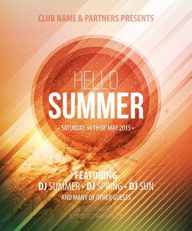 verano: Fiesta de verano. Cartel plantilla. Ilustración vectorial