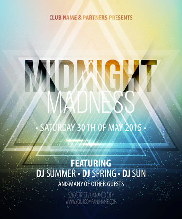 nightclub: Midnight Madness Party. Template poster. Vector illustration