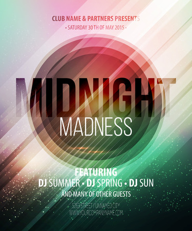 club flyer: Midnight Madness Party. Template poster.