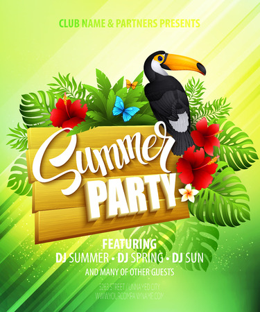 Summer party. Template poster. Vector illustration  Vettoriali