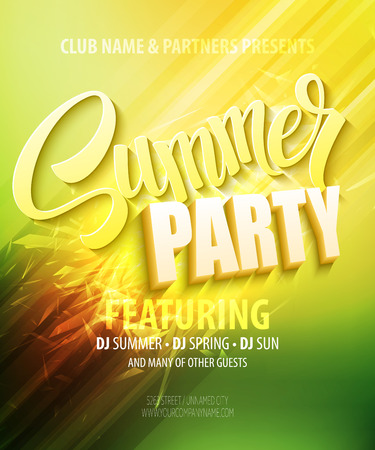 happy summer: Summer party. Template poster. Vector illustration Illustration