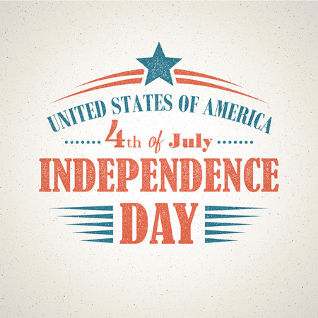 united states flag: Retro typography card Independence Day. Vector illustration