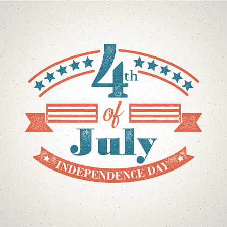 independence day america: Retro typography card Independence Day. Vector illustration
