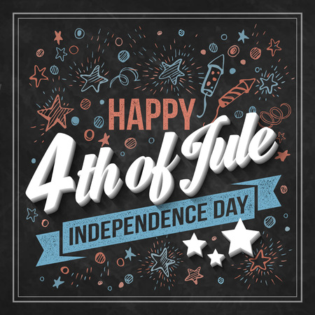 independent day: Typography card Independence Day. Chalk board. Vector illustration Illustration