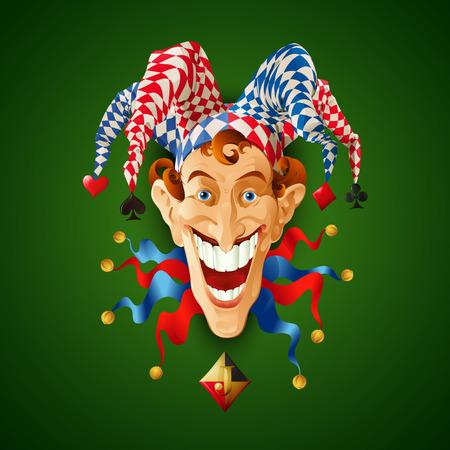 tonto: Imagen Jolly Joker. Ilustración vectorial