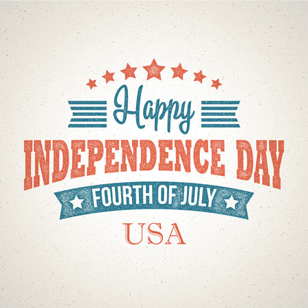 independent day: Retro typography card Independence Day. Vector illustration