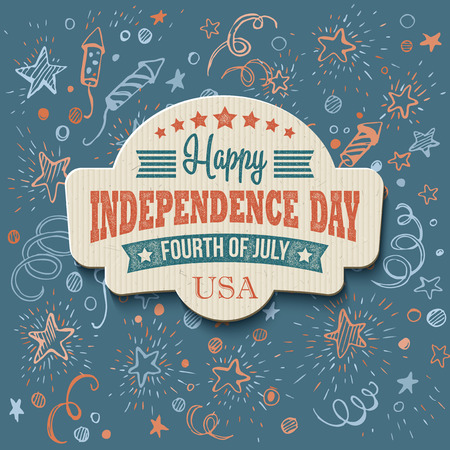 Retro typography card Independence Day. 向量圖像
