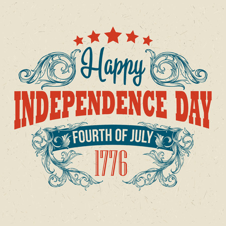 Retro typography card Independence Day. Illustration