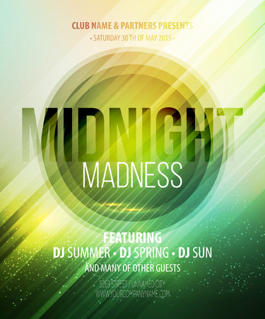 nightclub: Midnight Madness Party. Template poster.