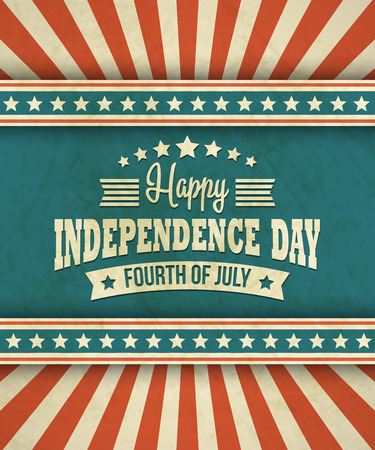 usa patriotic: Retro typography card Independence Day.
