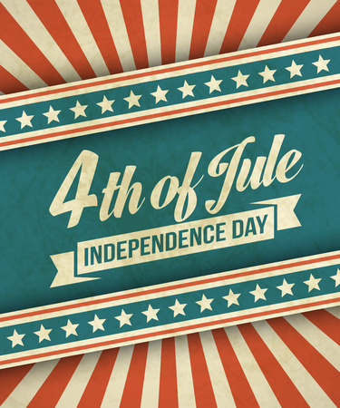 Retro typography card Independence Day.