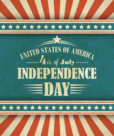 Tarjeta retra tipografía Día de la Independencia. Foto de archivo - 38881757