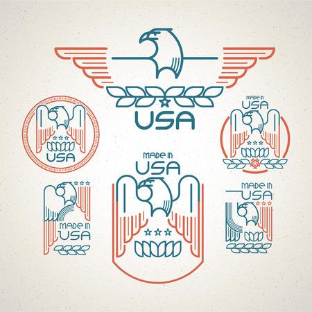 aguila americana: Hecho en los EE.UU. s�mbolo de la bandera americana y �guila Conjunto de plantillas emblemas. Ilustraci�n vectorial