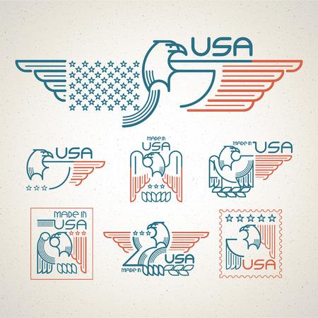 halcón: Hecho en los EE.UU. símbolo de la bandera americana y águila Conjunto de plantillas emblemas. Ilustración del vector EPS 10