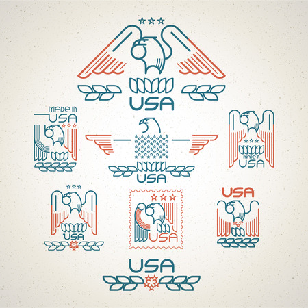 adler silhouette: Hergestellt in den USA Symbol mit der amerikanischen Flagge und Adler Reihe von Vorlagen Embleme. Vektor-Illustration EPS 10 Illustration