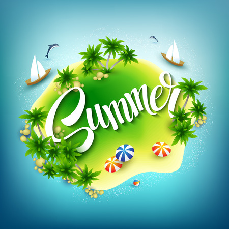 summer: Headline Summer. Tropical island in the blue sea. Vector illustration EPS 10