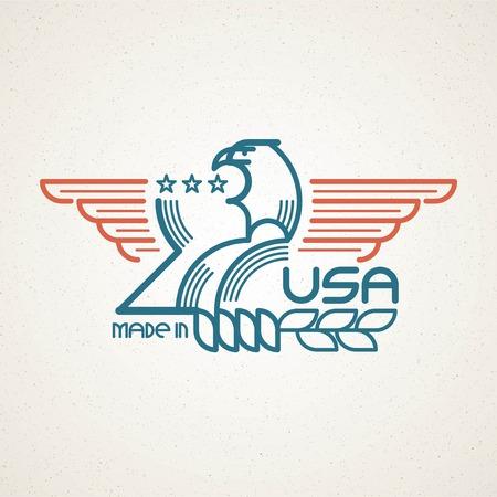 banderas america: Hecho en los EE.UU. Símbolo con la bandera y el águila plantillas emblemas norteamericanos. Ilustración del vector EPS 10
