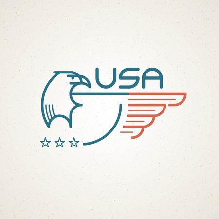 adler silhouette: Hergestellt in den USA Symbol mit der amerikanischen Flagge und Adler Vorlagen Embleme. Vektor-Illustration EPS 10