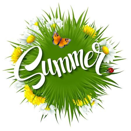 신선한 여름 배경 잔디, 민들레와 데이지 EPS 10