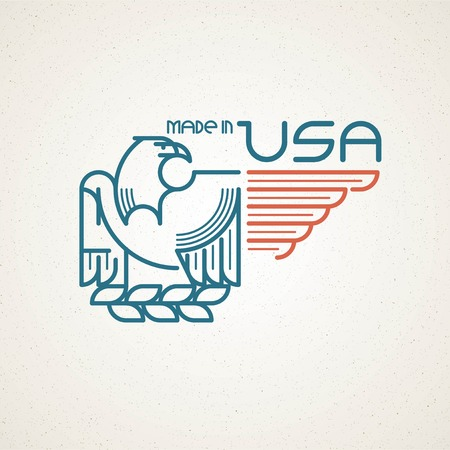 eagle badge: Made in the USA Symbol with American flag and eagle templates emblems. Vector illustration EPS 10