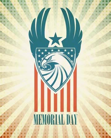 aigle: Memorial Day. Carte typographique avec le drapeau et l'aigle américain. Vector illustration EPS 10