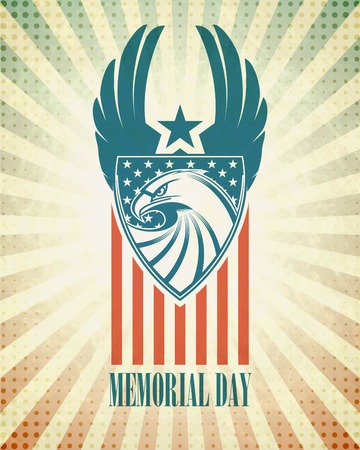 eagle symbol: Memorial Day. Typographic card with the American flag and eagle. Vector illustration EPS 10 Illustration