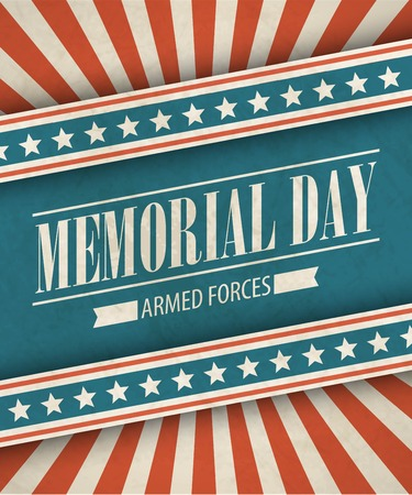 national hero: Memorial Day. Typographic card with the American flag. Vector illustration EPS 10