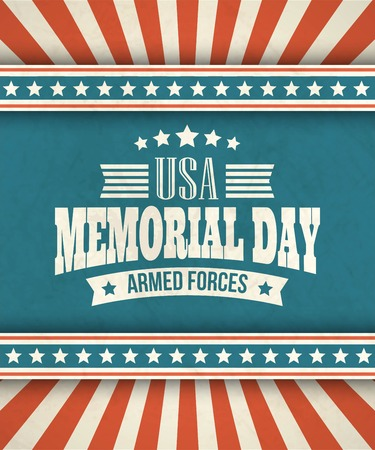 memorial day: Memorial Day. Typographic card with the American flag. Vector illustration