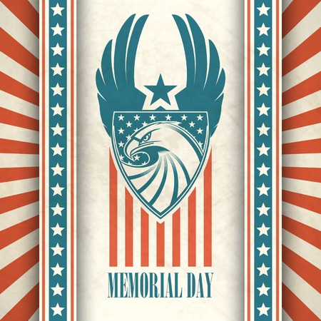 memorials: Memorial Day. Typographic card with the American flag and eagle. Vector illustration