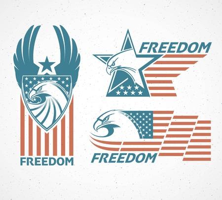 halcones: D�a Conmemorativo. Tarjeta tipogr�fico con la bandera americana y el �guila. Ilustraci�n vectorial Vectores
