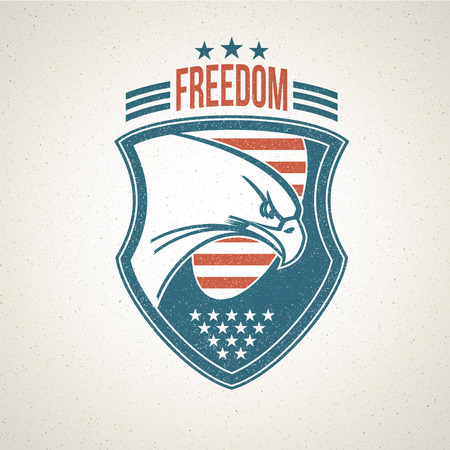 Shield icon with an American eagle symbol. Vector illustration Illustration