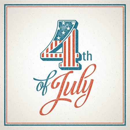 Retro typografie kaart Onafhankelijkheidsdag. Vector illustratie EPS 10