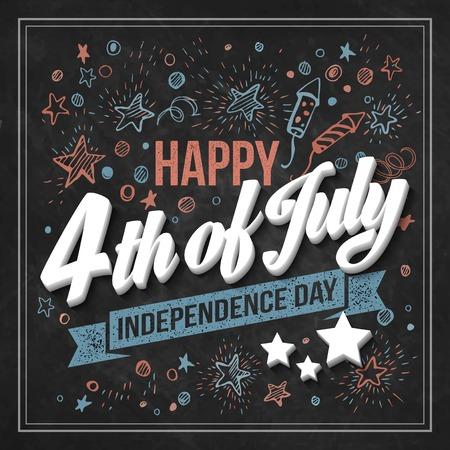 julio: Tarjeta Tipografía Día de la Independencia. Tarjeta de tiza. Ilustración vectorial