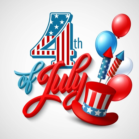 july 4th fourth: American Independence Day. Festive vector illustration