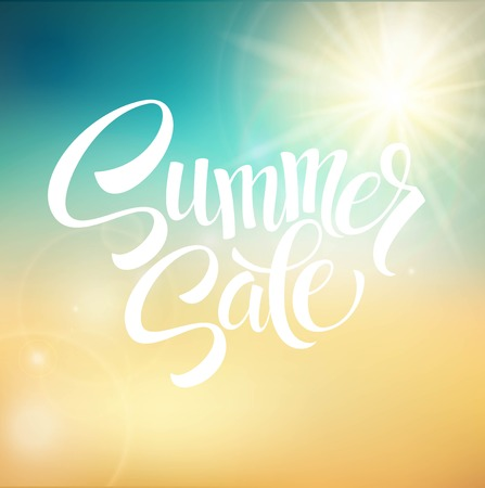 sale sign: Summer Sale, blurred background. Vector illustration