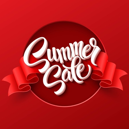 red sun: Summer sale. Ribbon label. Vector illustration EPS 10 Illustration