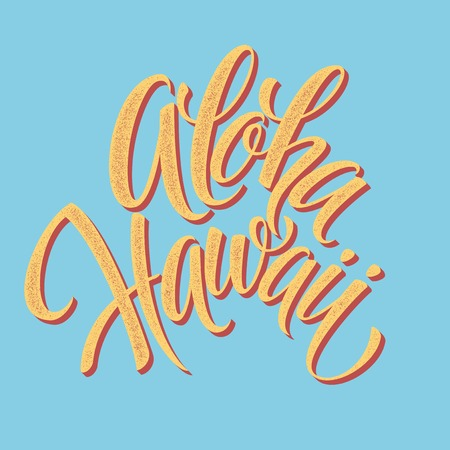 hawaii islands: Aloha Hawaiian handmade lettering. Vintage textured hand crafted ink drawing EPS 10
