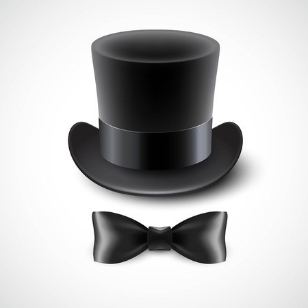 Vintage top hat and a bow tie. Vector illustration  EPS10