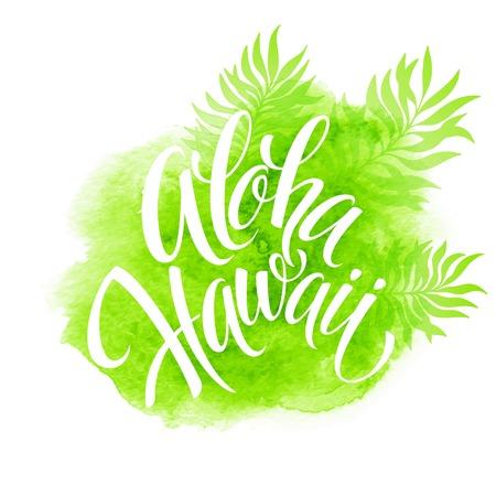 Aloha Hawaii illustration, palm leaves watercolor background