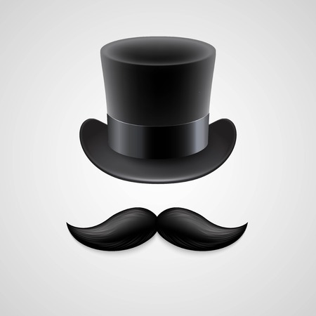 hair bow: Vintage  top hat, mustaches. Vector illustration Illustration