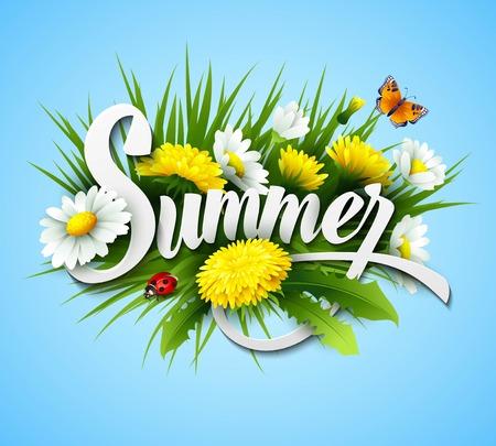 Verse zomer achtergrond met gras, paardebloemen en madeliefjes