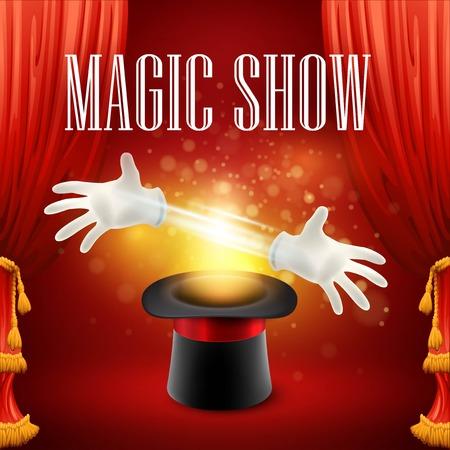 alzando la mano: Rendimiento Truco de magia, circo, show de concepto. Ilustración del vector EPS 10 Vectores