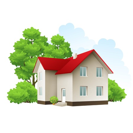 small town life: Vector illustration of cool detailed house icon isolated on white background. Illustration