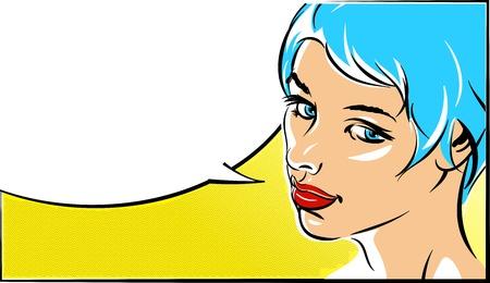 eps vector art: Pop art vector illustration of a woman face EPS 10 Illustration