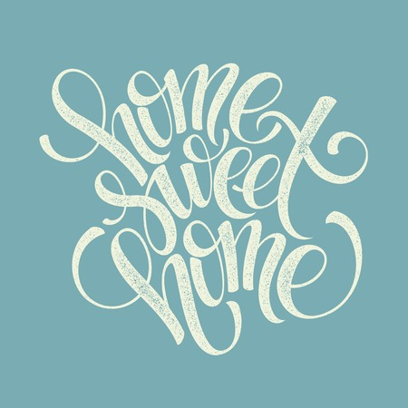 type lettering: home sweet home hand lettering, vector illustration