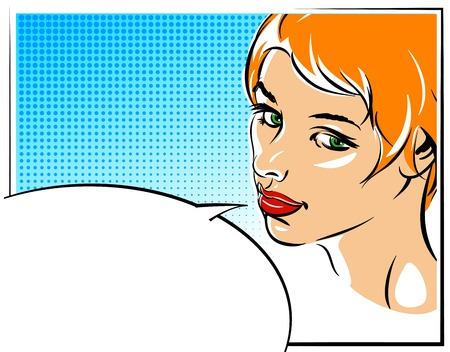 mod: Pop art vector illustration of a woman face  Illustration