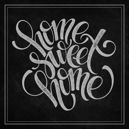 contemporary house: home sweet home hand lettering, vector illustration