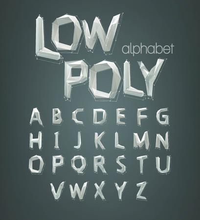 pila bautismal: bajo alfabeto fuente poli. Ilustración del vector EPS 10