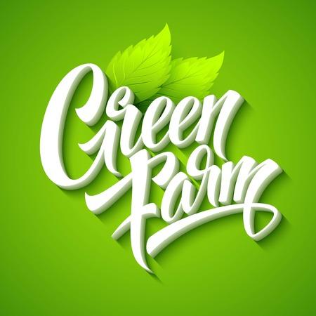 fresh produce: Farm Fresh, calligraphic inscription. Vector illustration